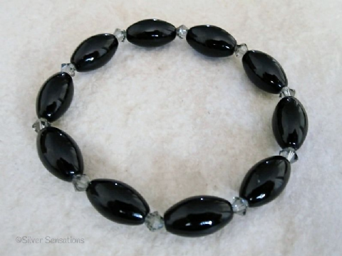 Black Onyx Oval Rice Beads & Swarovski Crystals Fashion Bracelet